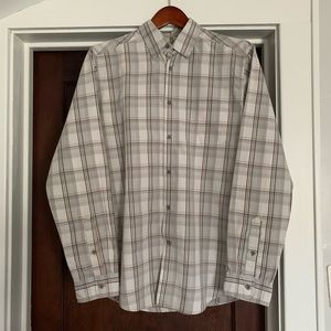 Grayish beige button down. M. Like new